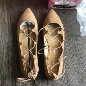 Chinese Laundry Tan Lace Up Flats